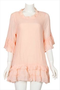 Tunic Pink Gracious Blouse Style 1X & 2X Plus Size 3Q Sleeve