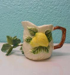 Majolica lemon and leaves cream pitcher by SouvenirAndSalvage, $15.00