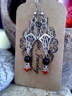 Gothic Edwardian Earrings with Mystic Black Swarovski Pearls and Fireopal Swarovski Crystals by ApplebiteJewelry