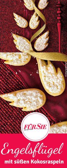 Süße Engelsflügel mit Koksraspeln – klingt das nicht himmlisch? Mit unserem Backrezept hast Du die Plätzchen schnell gebacken, an Weihnachten oder als Dessert.
