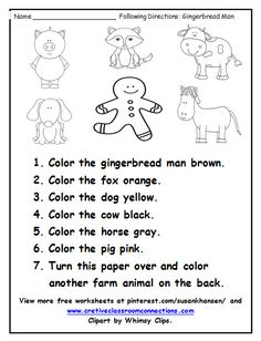 This free worksheet provides students with practice following simple directions and using basic color word vocabulary. Other free worksheets are available on my pinterest board at pinterest.com/susankhansen/