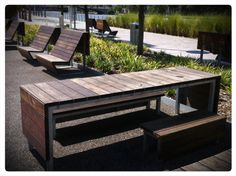 Love this site furniture. I assume it's custom. #landscapearchitecture