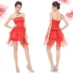 Ever-pretty US Short Girl's Cocktail Party Dress Homecoming Prom Gown Bridesmaid Ever Pretty, Ruffle Shorts, Red Satin, Online Fashion Stores, Homecoming, Strapless Dress, Cocktails, Dress Fashion, Fashion Boutique