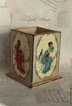 Decoupage Jars, Decoupage Wood, Decoupage Vintage, Painted Boxes, Hand Painted, Prayer Box, Shabby Chic Crafts, Altered Boxes, Craft Box