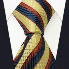 P20 Stripes Multicolor Yellow Blue Orange Mens Neckties Ties 100% Silk Jacquard Woven Handmade