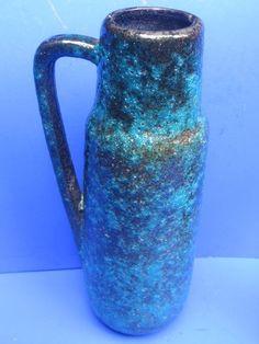 Scheurich 275-28 Keramik Vase Fat Lava Türkis 28 cm Vintage 70's
