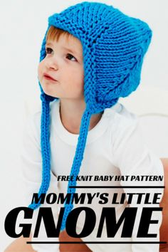 Easy knit hat patterns are perfect for baby. Keep your little angel's head warm with these free knitting patterns. Knitted baby hats are a quick project and they're extra cute, so make one today! Baby Hat Knitting Pattern, Baby Hat Patterns, Baby Hats Knitting, Knitting For Kids, Knitting Patterns Free, Knit Patterns, Free Knitting, Knitted Hats, Crochet Pattern
