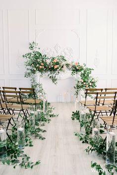 candles and greenery wedding aisle decorations Wedding Ceremony Ideas, Wedding Altars, Wedding Aisle Decorations, Wedding Arrangements, Ceremony Backdrop, Church Decorations, Wedding Receptions, Floral Wedding, Wedding Flowers