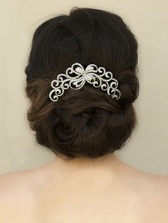 "Elegant Rhinestone Scroll Bridal Hair Comb ~ ""London"" in Silver - Bridal Hair Accessories, Wedding Headpieces, Bridal, Wedding, Hair Accessories, Headpieces, Combs, Clips, Hair Pins, Flowers, Headbands, Tiaras, Jewelry, Vintage, Beach - Hair Comes th"