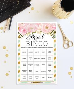 Bridal Shower Games - Bridal Shower Bingo.  The perfect game for any bridal shower. https://www.etsy.com/listing/253862148/bridal-shower-bingo-game-76-unique-game
