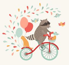 Cute raccoon on a bicycle poster by coffeee-in on @creativemarket