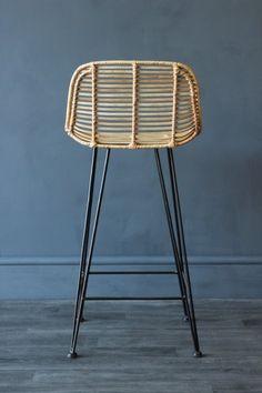 Blonde Rattan Bar Stool - Stools & Bar Stools - Furniture