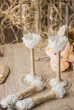 Rustic wedding ideas, barn wedding, wedding champagne glasses & cake server and knife, country rustic wedding, rope, lace and pearls, 4 pcs.