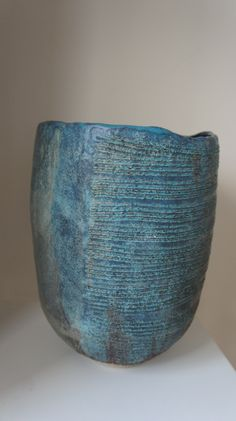 Crank stoneware vessel with black slip and turquoise glaze inspired by Claude Conover.