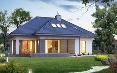 Dom z poddasz Modern Small House Design, Modern Style Homes, Dream Home Design, My Dream Home, Modern Bungalow House, Bungalow Homes, Modern House Plans, Cottage Plan, Design Case