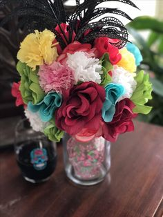 Day of The Dead custom made Centerpieces by Alwaysadornable Dia De Los Muertos Flowers Wine, Different Wines, Centerpieces, Table Decorations, Day Of The Dead, Beautiful Images, Cyber, Floral Arrangements, Mall