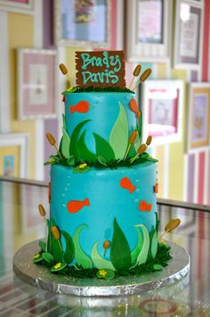 Gone Fishing Baby Shower Cake www.LeahsSweetTreats.com