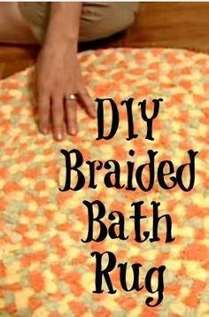 Turn old towels into this cute diy bath rug.