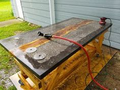 Concrete and Wood Slab Table: 6 Steps (with Pictures) Table Beton, Concrete Table Top, Wood Slab Table, Plank Table, Timber Table, Concrete Wood, Concrete Countertops, Wood Slab Countertop, Decorative Concrete