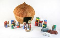 This charming, hand painted Nativity set is a wonderful way to decorate for Christmas! Stable made from a coconut shell Figurines made from clay Christmas Decorations, Christmas Ornaments, Holiday Decor, Coconut Shell, Fair Trade, Nativity, Clay, Hand Painted, Painting