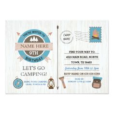 CAMPING Camp Out BIRTHDAY PARTY boys girls invite