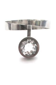 Elis Kauppi for Kupittaan Kulta, Finland - classic vintage modernist iconic silver & rock crystal bracelet - *book piece