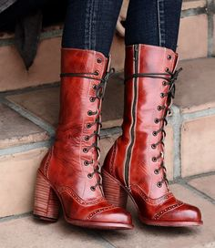 Victorian Inspired Mid-Calf Leather Boots in Red Rustic | Traditional Wedding Boots | Steampunk | Rustic | Country | Western | Bohemian | Vintage | Gothic | Bohemian | Oak Tree Farms