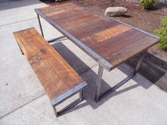 6 ft Industrial Dining Table w/ matching 5 ft industrial bench. $962.00, via Etsy.