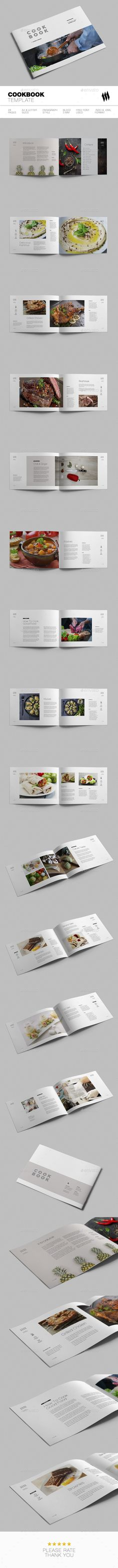 Cookbook Template InDesign INDD - 28 Pages, & Letter Sizes Buch- und Zeitschr. Recipe Book Design, Cookbook Design, Kids Cookbook, Menu Design, Plenty Cookbook, Cookbook Ideas, Website Design Layout, Layout Design, Cookbook Organization