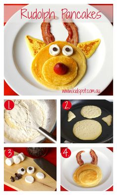 Rudolph pancakes recipe    What could be a better breakfast on Christmas morning than these fun Rudolph the Red Nosed Reindeer pancakes? The kids will think all their Christmases have come at once! #kidspotkitchen