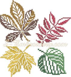 10486 Autumn leaves cross stitch set A set of 4 autumn leaves in cross stitch technique. Each design is available in 2 sizes. You receive 8 machine embroidery files and a color chart in PDF format Crochet Leaf Patterns, Crochet Leaves, Doily Patterns, Crochet Chart, Thread Crochet, Crochet Doilies, Autumn Trees, Autumn Leaves, How To Clean Eyelashes