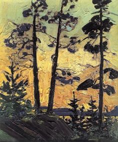 Tom Thomson Pine Trees At Sunset Silhouetted trees. Group Of Seven Art, Group Of Seven Paintings, Emily Carr, Landscape Art, Landscape Paintings, Tree Paintings, Landscapes, Abstract Paintings, Abstract Art