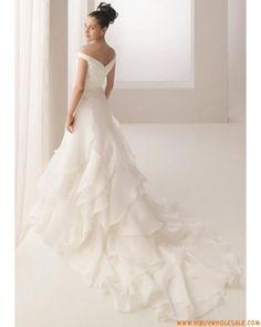 Off the Shoulder Princess White Organza Ruffled Wedding Dresses 2013