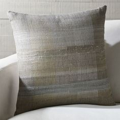 """Shop Blakely 20"""" Handwoven Pillow with Down-Alternative Insert. Designed by Neeru Kumar as a study in texture, our neutral Blakely pillow explores complex weaves with handspun linen and silk yarns."""