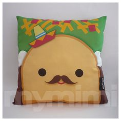 "Decorative Pillow, Taco Pillow, Sombrero Pillow, Mexican Food, Throw Pillow, Kawaii, Cushion, Room Decor, Childrens Toys, 16 x 16"""