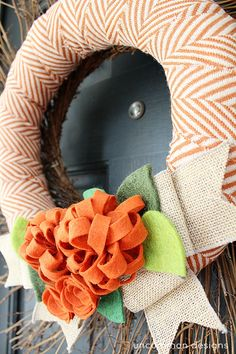 Beautiful DIY FALL WREATH! This fall wreath incorporates my favorites of fabric,felt, and burlap! Vibrant and fun!