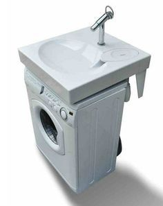 Space saving washbasin, flat bathroom sink fits above washing machine.