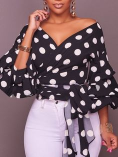 Dylanlla Womens Shirts, Sexy Long Puff Sleeve Polka Dot Ruched V Neck Casual Tunic Tops Blouses T-Shirts with Belt Black Girls Tunics, Blouses For Women, Casual Outfits, Fashion Outfits, Womens Fashion, Casual Shirts, Casual Attire, Casual Tops, Sarah Jessica