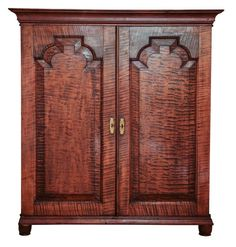 Late 1700s Tiger Maple Book Case Cabinet For Sale at 1stdibs