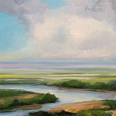 """Salt Marsh in Delaware small oil painting"" - Original Fine Art for Sale - © Dianna Poindexter"