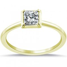 0.65 Carat H-SI1 Princess Cut Diamond Solitaire Engagement Ring 14k Yellow Gold