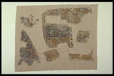 Printed linen. German work.  Södra Råda church, Sweden.  Dogs, birds, squares.  Probably an andependium.  Mid 15th century