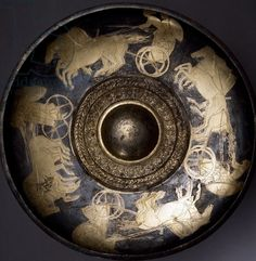 Silver phiale depicting chariot race in gold, from Basova burial mound, Plovdiv Region, Bulgaria, Goldsmith art, Thracian Civilization, 4th Century BC