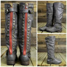 Hey @Jenny Daughtry !!  These look like the boots you liked at our meeting! :) Wake Forest Taupe Red Zipper Knee High Boots  Great Site for cheap boots