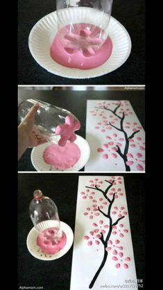 Beautiful craft. Use the bottom of a soft drink bottle and put it in pink paint and make cherry blossoms. And with a paint brush and  dark brown paint draw a creative branch.