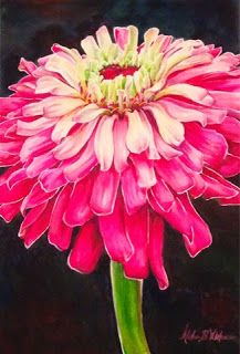 """Pink Cascade"" - Watercolor painting of a dahlia by Alisha B Whitman"