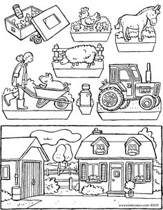 Bauernhof colouring pages. A wide range of beautiful colouring pages for toddlers, preschoolers and children of all ages. print out the colouring pictures and let the colouring begin… Creative Activities For Kids, Diy For Kids, Bible Crafts, Paper Crafts, Diorama, Today Is Your Birthday, Beautiful Birthday Cards, Farm Projects, Fun Arts And Crafts
