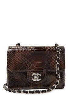 Chanel Brown Ombre Python Mini 2.55 Shoulder Crossbody Flap Bag  5205  Vintage on Gilt   99d1d30b476da