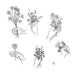 "laurasupnik: "" fleurs pen and ink "" Cute Tattoos, Small Tattoos, Dainty Flower Tattoos, Tattoo Model Mann, Amazing Flowers, Doodle Art, Doodle Images, Tattoo Inspiration, Line Art"