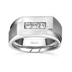 Mens Wedding Band - MP1768GW - This classic mens diamond wedding band features a white gold comfort fit shank with a strip of channel set princess cut diamonds adorning the top.  Available with a satin or a bright polish finish for two distinctively different looks.    Also available in yellow gold, 18k and Platinum.